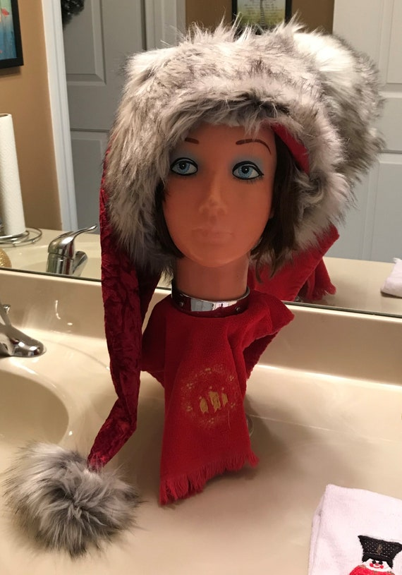 Christmas Chronicles Mrs Claus.Christmas Chronicles Style Extra Long Santa Claus Hat Fully Lined With Long Faux Fur Custom Made New