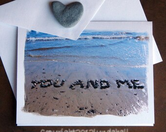 Beach Theme Romantic Wedding Card YOU And ME Stone Sentiment Loving Words Anniversary Summer