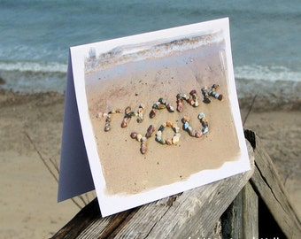 THANK YOU Beach Theme Cards Set Of 3 Stone Words In Sand Thank You Note Teacher Gift Inspired