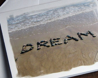 Beach Theme Cards DREAM Card Set Of 3 Dream Big Graduation Wish Encouragement Word Art Stones Sand