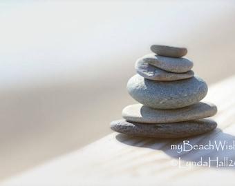 Beach Stones Photo- In Balance, Cairn, macro photography, coastal decor, peaceful wall art