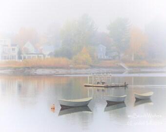Nautical Photography- Three Boats, Haze, Autumn Colors Kennebunkport, Maine, New England