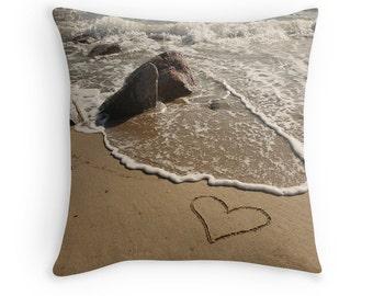 Beach Theme Pillow Cover- SUMMER LOVE, Heart in the Sand, Romantic Pillow, Coastal Art, Holiday Decor