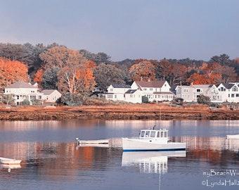 Nautical Photography-Porpoise Bay, fall fishing boats Maine