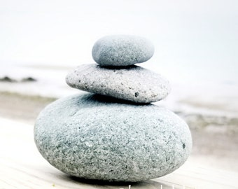 Coastal Photography- Cairn, beach stones, balance, dreamy zen wall art
