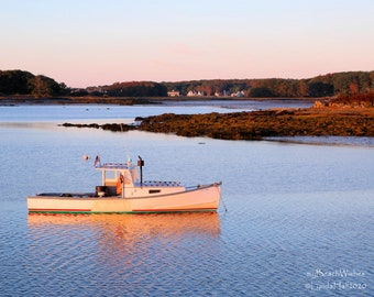 Maine Photography- Lobster Boat moored at Cape Porpoise, Maine