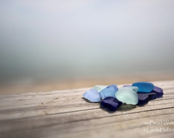 Coastal Photography- Simply Sea Glass, macro photo print, calming wall art