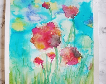 Spring Flowers - Original Watercolor Painting - Colorful Nature (Wall Art)
