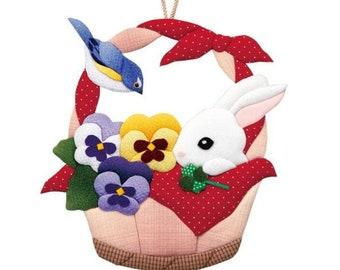 DIY Japanese Folk Art Rabbit in the basket --- Japanese Craft Kit (Just use glue to make it) 3810454