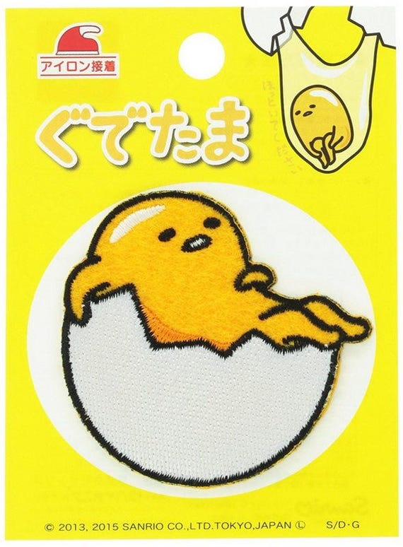 sanrio gudetama iron on embroidery patch applique from japan etsy