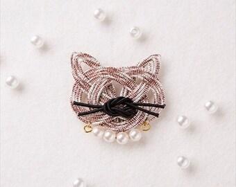 Mizuhiki Cat hanging bag Kit --- Japanese Craft Kit PHC-054-2 Designed by mizuhikigirl
