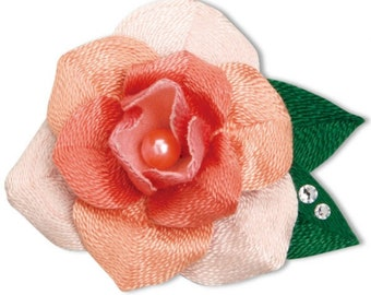 Three-dimensional embroidery thread brooch Pink Rose Kit --- Japanese Craft Kit 5823034