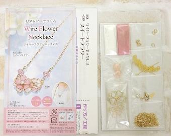 DIY Japanese 3D Wire Flower Necklace UV Resin Kit --- Japanese Craft Kit RSK-189