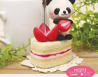 Needle Felting Use Wool Felt to make Panda strawberry Cake with  Memo Clip  --- English Material Kit (English / For Beginner)