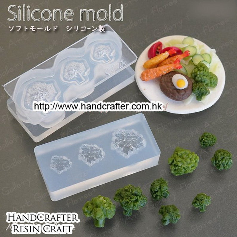 Lovely food series 3D broccoli Mold High Quality Silicone Soft Mold For Clay  Resin  UV Resin from Japan C-723