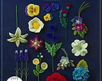 Non-woven embroidery beautiful floral modeling Collection Japanese Craft Book BK378