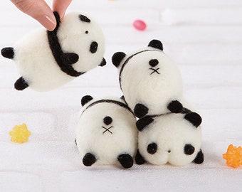 DIY handmade Wool Felt kit 3 little panda -  Japanese kit package H441-554