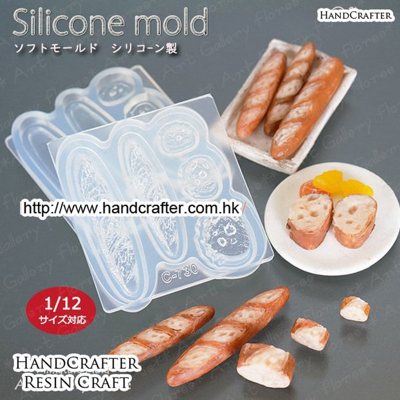 Lovely bread mini 3D French bread mold High Quality Silicone Soft Mold For Clay  Resin  UV Resin from Japan C-730