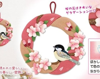 DIY Japanese Folk Art Cherry blossoms and bird ornaments --- Japanese Craft Kit (Just use glue to make it) 3810520