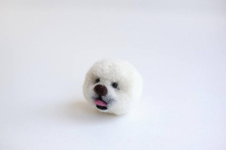 English Kit Pom Pom Kit to Make 2 Pom Pom of Bichon Dog Desgined by Trikotri