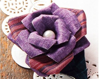Brooch and rose (Purple) Kit Easy to make just folded with cloth --- Japanese Craft Kit 5670021