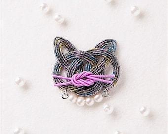 Mizuhiki Cat hanging bag Kit --- Japanese Craft Kit PHC-054-1 Designed by mizuhikigirl