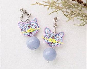 Mizuhiki Cat ear ring Kit (Blue) --- Japanese Craft Kit PHC-052-1 Designed by mizuhikigirl