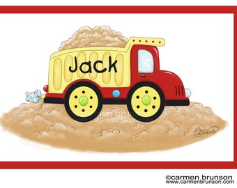 Personalized Placemat-kids placemat-kitchen decor-monogram gift-Dumptruck-Construction-truck-boy gift-boy placemat-party favor-easter gift