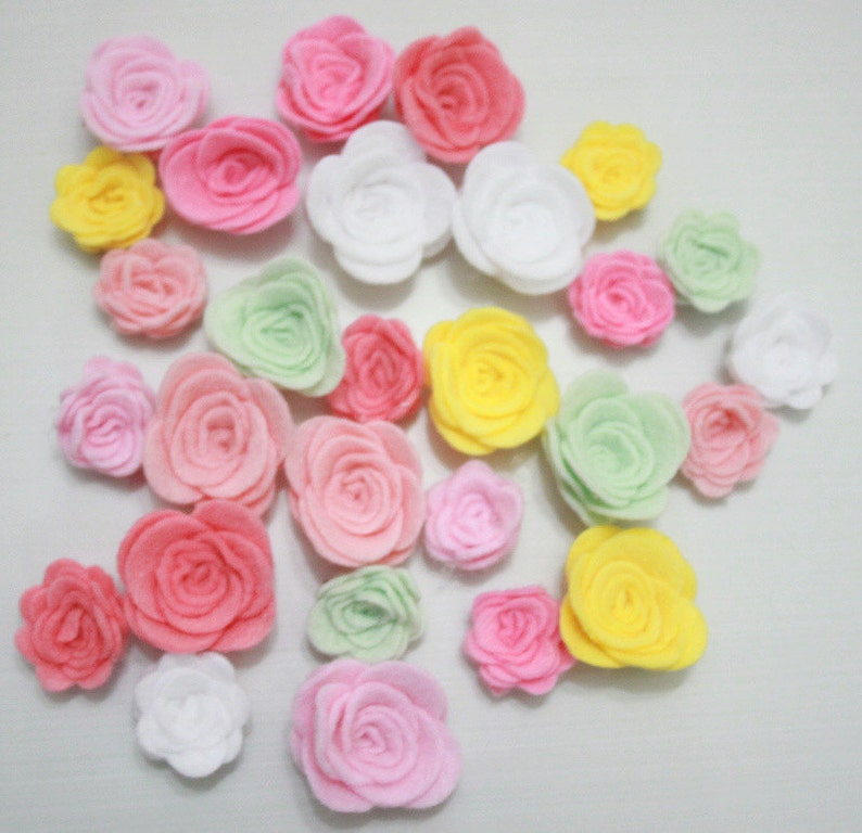 Pastel Colors For Spring Two Sizes Assembled Felt Roses Flowers Easter Themes 2 40 Piece