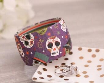 Day of the Dead Bracelet - Dia De Los Muertos Bracelet - Day of the Dead Jewelry - Halloween Bracelet - Halloween Bangle - Halloween Jewelry