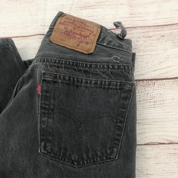 Vintage Levi's Levis Black Denim Distressed 501 Bu