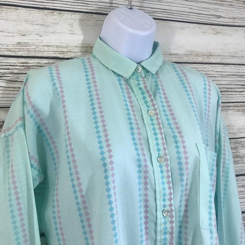 Vintage 80s 1980s Mint Green Print Long Sleeve Button Front Preppy Tie Up Boho Shirt Ladies M