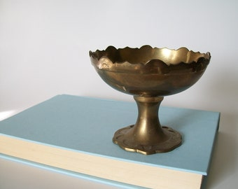Vintage Solid Brass Pedestal Bowl, Small, Made in India, PWF