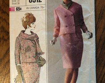 Simplicity 6312 vintage 1965 sewing pattern size 18 bust 38 uncut