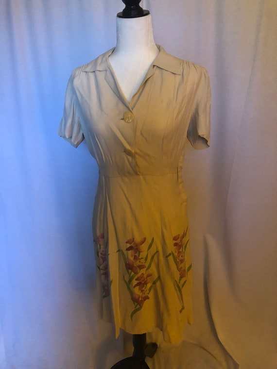 Vintage 30s Orchid Rayon Dress Floral