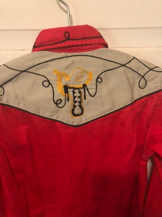 Vintage Child Kids 50s Embroidered Western Shirt - image 6