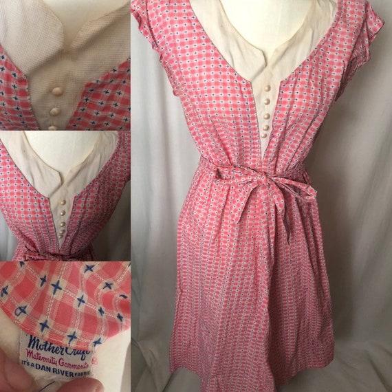 Vintage 40s Pink Maternity Dress
