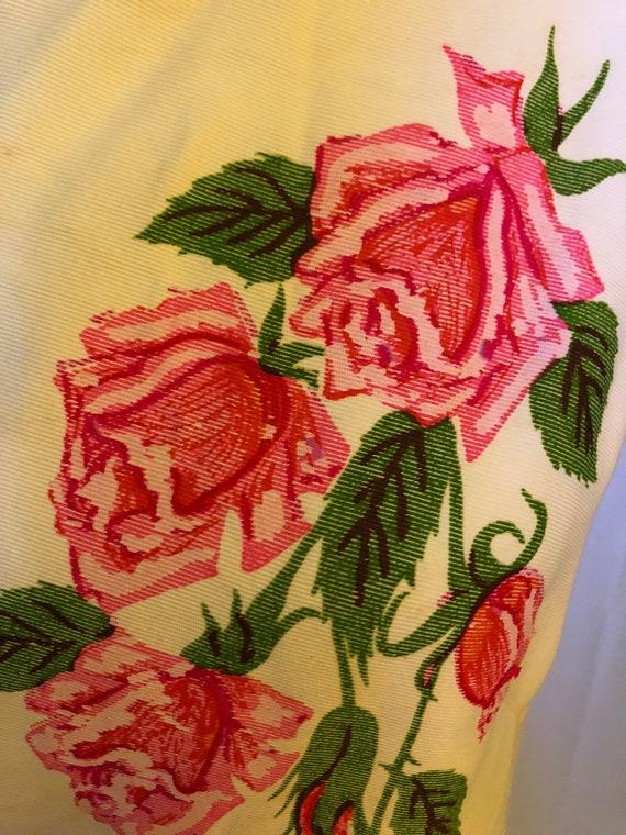 Shaheen Vintage Pink Rose Dress 1950s