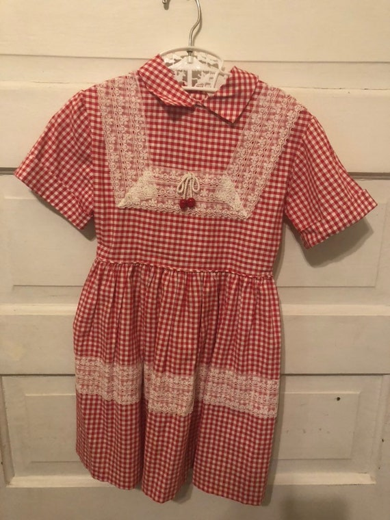 Vintage 50s Girls Kids 5t Gingham Western Dress