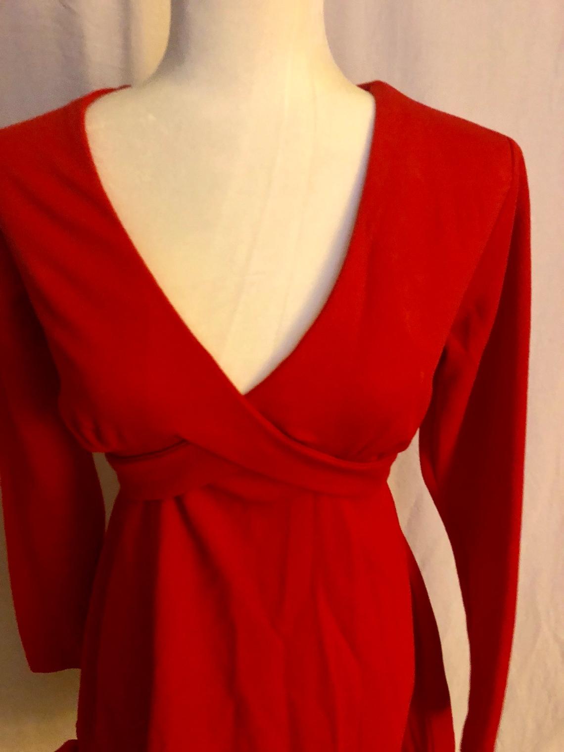 Vintage Vtg 60s Polyester Lipstick Red Mini Dress