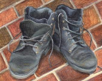 Small Acrylic Painting of Boots, Original Realistic Still Life Painting, Original Art on Wood Rustic Decor