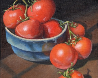Original Still Life Painting, Acrylic Painting of Red Tomatoes in a Blue Bowl, Kitchen Art Home Decor