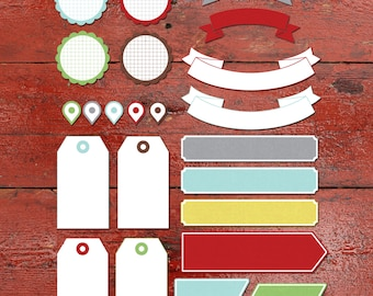 """Tags and Labels for Scrapbooking and Crafts, """"December Cheer"""", Printable"""