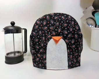 French Press Cozy - black and pink paisley