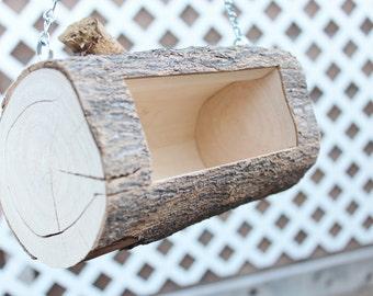 Hanging Branch Wood Bird Feeder