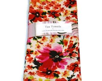 Tea Towels, Linen, Flowers, Red, Dish Towels, Set of 2, Decorative Kitchen Towels