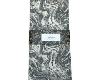 Tea Towels, Grey and White TeaTowels, Charcoal Gray Tea Towels, Set of 2, Decorative Kitchen Towels