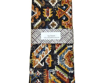 Tea Towels, Black Southwestern TeaTowels,  Set of 2, Decorative Kitchen Towels, Kitchen Hand Towels