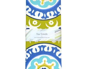 Tea Towels, Blue and White TeaTowels, Blue Vine and Green Tea Towels, Set of 2, Decorative Kitchen Towels