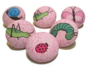 Think Pink Thumbtacks, Pink Pushpins, Fabric Covered Pushpins. Ladybug